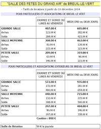 tarif salle des fetes mairie de breuil le vert tarifs et contrat de location