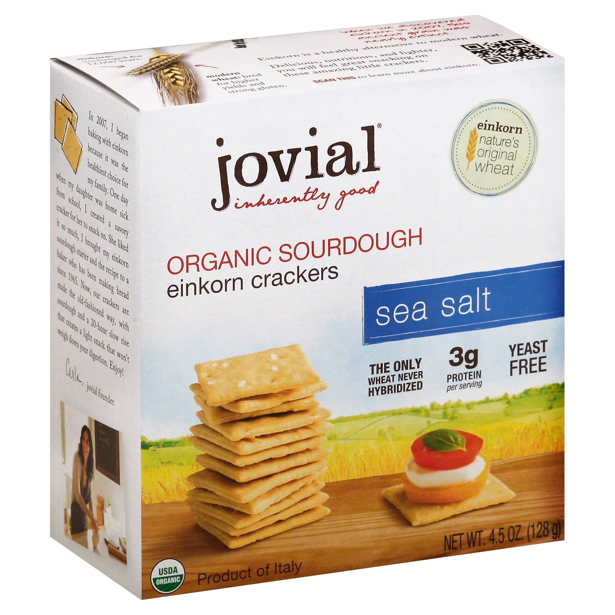 Jovial Organic Sourdough Einkorn Crackers Sea Salt - 128g
