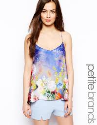 true decadence floral satin cami top in blue lyst