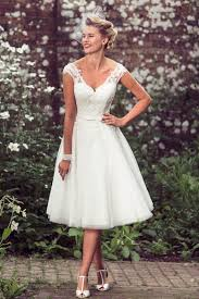 A Line V Neckline Cap Sleeves Tea Length Rustic Lace Wedding Dress