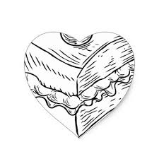 Cake Slice Vintage Retro Woodcut Style Heart Sticker drawing sketch design graphic draw personalize
