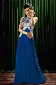 crepe designer party wear gown in blue colour party wear blue