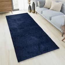 essence teppich läufer flur brücke shaggy hochflor langflor dunkelblau blau einfarbig weich modern design korridor schlafzimmer ökotex