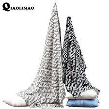 plaid noir canapé 100 coton tricoté fil couverture noir gris blanc plaid tricot