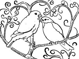 Love Birds Perching On Tree Coloring Pages