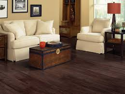 Dark Brown Color Luxury Vinyl Wood Flooring For Small Rustic Living Room Style Plus Sofa And Chairs With White Fabric Cover Ideas