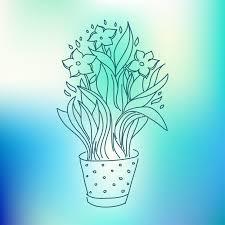narcisse dans le dessin de croquis de pot de fleurs sur le fond