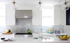 gray marble herringbone backsplash contemporary kitchen