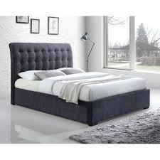Dark Grey Button Back Upholstered Super King Bed Frame