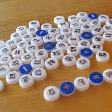 Writing Number Sentences Using Water Bottle Caps Must Save