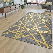 teppich wohnzimmer abstrakt linien gelb grau