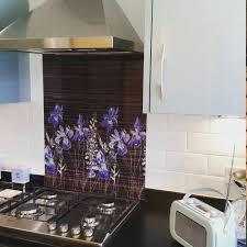 Watercolour In Ebony Patterned Glass Splashback