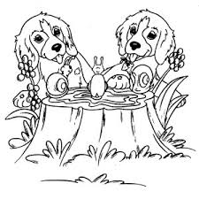 Twin Dog Playing With Snails Coloring Page