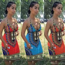 2017 women halter print party dresses blue orange red vintage