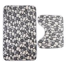 2 teilig waschbar badgarnitur badematte wc vorleger mit ausschnitt für stand wc kein ausbleichen abmessungen 80 cm x 50 cm