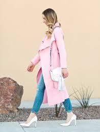 Spring Light Pink Long Coat & White Saddlebag
