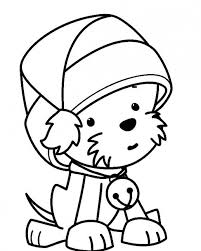 A Little Puppy Wearing Santa Claus Hat Waiting For Christmas Coloring Pages