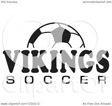 Clipart of a Black and White Ball and VIKINGS SOCCER Team Text