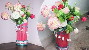 Newspaper Flower Vase Making Craft Ideas