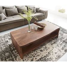 wohnzimmertisch live edge akazie braun 130x60 cm baumkante baumtisch