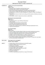Bartending Resumes Examples Head Bartender Resume Samples Velvet Jobs Intended For Example No Experience