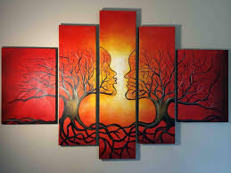 Abstract Wall Art Red Oil Painting Framed Large Tree Roots Nature Canvas Decor