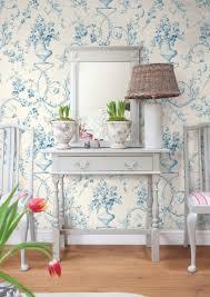 light blue floral urn wallpaper traditional bedroom boston