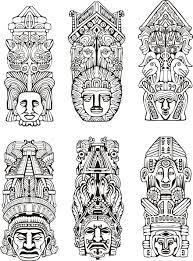 Coloriage De Totem Aztèque