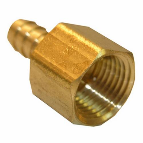 "Lasco Plumbing Fixture - 3/8"" Female Pipe Thread x 1/2"" Hose Barb Brass Adapter"