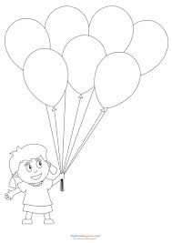 Preschool Coloring Pages Girl With Balloons
