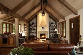 Ceilings With Exposed Beams Living Room Rustic Leather Couch Cathedral Ceiling