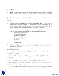 Concrete Mix Design Civil Engineering Quiz Docsity