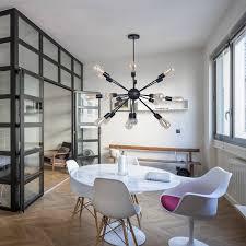 sputnik kronleuchter modern pendelleuchte hängele e27 lenfassung schwarz metall für esszimmer zimmer wohnzimmer küche restaurant