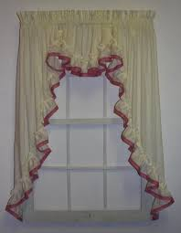Jacobean Floral Country Curtains by Lucy Country Ruffled Curtains With Banded Edge Collection U2013 Window
