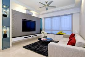 Featured Image Of Stylish Living Room Apartment With Carpet And Ceiling Fan