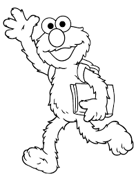 Elmo Goes To School Coloring Page