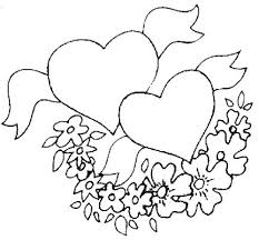 Hearts And Flowers Coloring Pages With