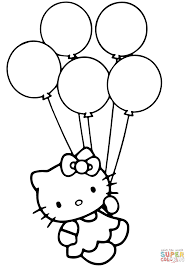 Balloons Coloring Pages Hello Kitty With Page Free Printable Image