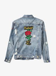 distressed rose patch denim jacket u2013 profound aesthetic