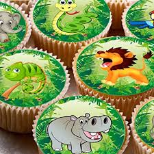 24 ND2 Jungle Safari Animals Snake Hippo Party Cupcake Fairy Cake Toppers 4cm On Wafer Rice Paper Amazoncouk Kitchen Home