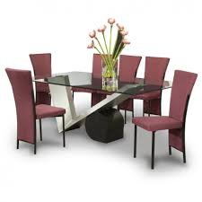 Dining Room Dazzling Designs With Glass Table Bases Fantastic Decorating Ideas Using Rectangular Purple Fabric Stacking
