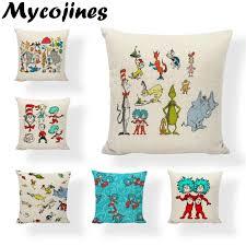 verkaufen gut charakter serie dr seuss kissenbezug elefanten buch fisch wohnzimmer sofa lounge auto dekoration leinen kissen abdeckung