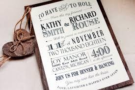 Rustic Wedding Invitation With Real Wood Backing Woodland Barn Set Typography Invitations