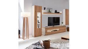 interliving wohnzimmer serie 2103 wohnwand 560002f mattweißer lack asteiche vierteilig breite ca 335 cm