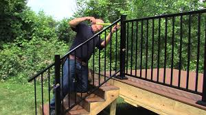 Freedom Aluminum Railing Installation - YouTube Watch This Video Before Building A Deck Stairway Handrail Youtube Remodelaholic Stair Banister Renovation Using Existing Newel How To Paint An Oak Stair Railing Black And White Interior Cooper Stairworks Tips Techniques Installing Balusters Rail Renovation_spring 2012 Wood Stairs Rails Iron Install A Porch Railing Hgtv 38 Upgrade Removing Half Wall On And Replace Teresting Railings For Stairs Installation L Ornamental Handcrafted Cleves Oh Updating Railings In Split Level Home