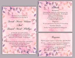 DIY Rustic Wedding Invitation Template Set Editable Word File Download Printable Vintage Pink Leaf Floral