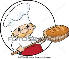 Clip Art baker with bread circle Fotosearch Search Clipart Illustration Posters