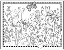 Printable Flower Garden Coloring PageFlowers To Color Magical GardenPretty Floral Butterfly