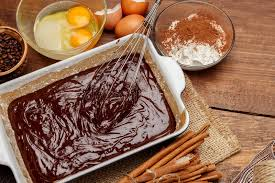Download Baking Chocolate Cake In Rural Or Rustic Kitchen Stock Image