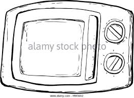 Outlined microwave oven with closed door and control dials over white background Stock Image